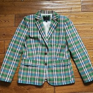 Jcrew 8 Rhodes blazer vintage plaid green